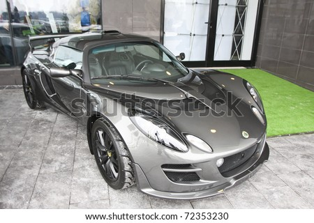 BUCHAREST, ROMANIA - FEBRUARY 24: Lotus carmaker through authorized agent MJD Prestige launched a new showroom - the only one in Eastern Europe. In this image Lotus Exige. Feb 24, 2011 in Bucharest - stock photo