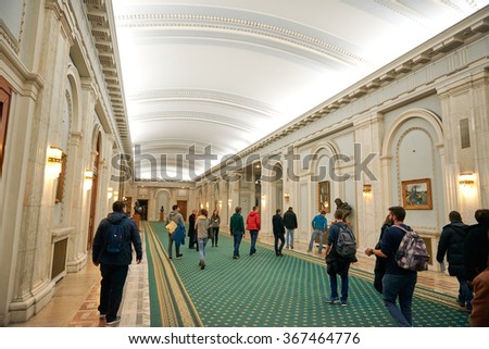 BUCHAREST, ROMANIA, 29.12.2015: Inside the building of Parliament Palace in Bucharest Romania