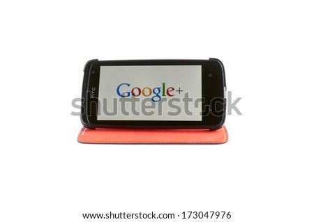 Bucharest, Romania - Jan 24, 2014: Photo of Google+ on smartphone screen. Google+ is a social networking and identity service that is owned and operated by Google Inc - stock photo