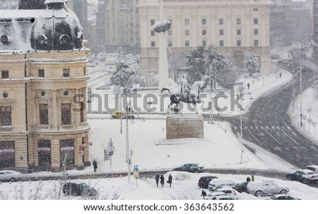 Bucharest, Romania - January 17, 2016: Bucharest downtown after a massive snowing, Calea Victoriei and city center neighborhood.