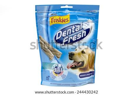 BUCHAREST, ROMANIA - January 15 2015: Friskies - Dental Fresh - Dog food made by Purina - stock photo