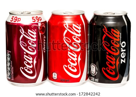 BUCHAREST, ROMANIA - JANUARY 23, 2014: 330ml Coca-Cola Bottle Cans Isolated On White Background. Coca-Cola is a carbonated soft drink sold in stores, restaurants, and vending machines around the world - stock photo