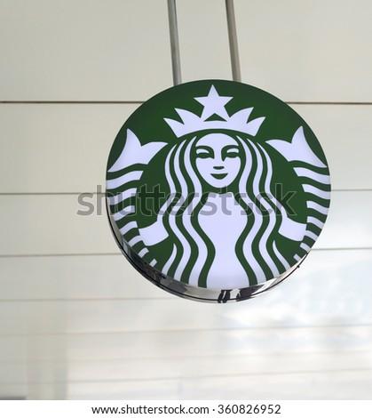 BUCHAREST, ROMANIA - JANUARY 9, 2016: Starbucks logo. Starbucks Coffee is a very popular brand name in the world - stock photo