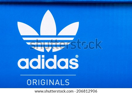 adidas shoes logo. bucharest, romania - july 23, 2014: adidas sign on shoe box. shoes logo