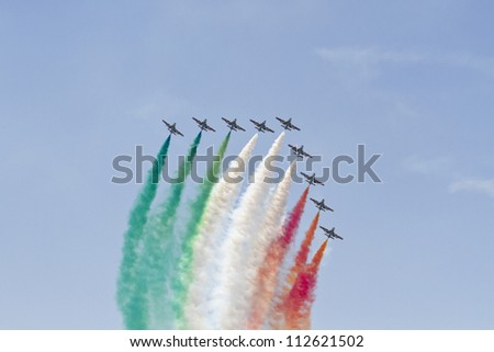 BUCHAREST,ROMANIA - JULY 22: Italian demoteam Frecce Tricolori at Bucharest airshow in Bucharest, Romania on July 22, 2012.