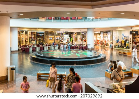BUCHAREST, ROMANIA - JULY 214, 2014: People Shopping In Luxury Shopping Mall Interior.