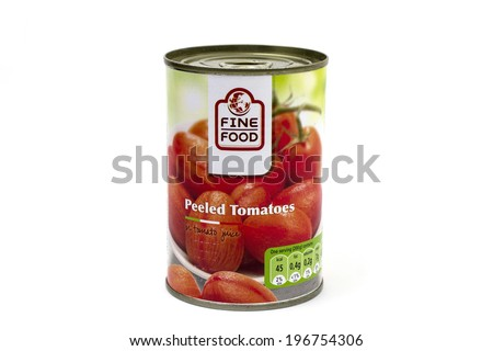 BUCHAREST, ROMANIA - June 4, 2014: A can of Fine food peeled tomatoes - stock photo