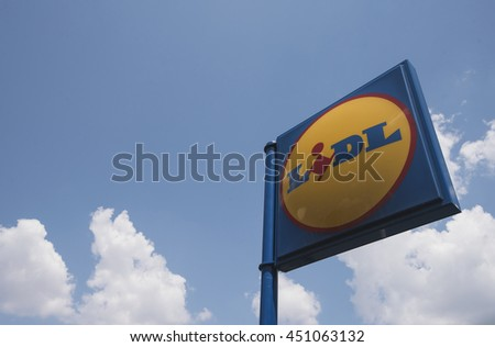 Bucharest, Romania - June 05, 2016: Lidl sign against blue sky.