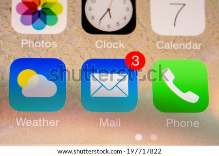 BUCHAREST, ROMANIA - JUNE 07, 2014: Mail Received Notification On Apple iPhone 5S. The Electronic Mail Is One Of The Most Utilized Functions On Modern Smartphones.