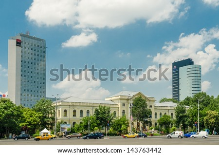 BUCHAREST, ROMANIA - JUNE 25: Victory Square on June 25, 2013 in Bucharest, Romania. Is a major intersection in central Bucharest of some of the main streets Calea Victoriei and Kiseleff Boulevard. - stock photo