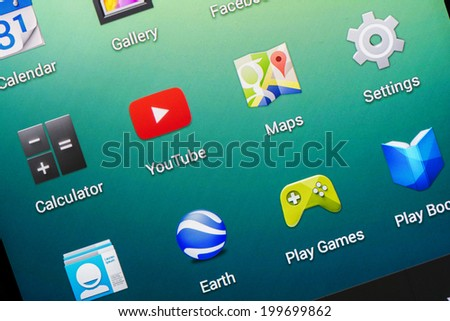 BUCHAREST, ROMANIA - JUNE 19, 2014: YouTube Application On Google Nexus 5 Smart Phone. It is a video-sharing website owned by Google since 2006, on which users can upload, view and share videos. - stock photo
