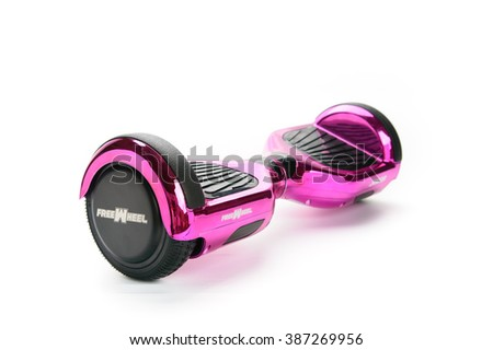 BUCHAREST, ROMANIA, - March 05, 2016: Close Up of Dual Wheel Self Balancing Electric Skateboard Smart Scooter on White Background. Editorial