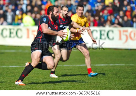 BUCHAREST, ROMANIA - MARCH 21: Unidentified rugby players during Romania vs Georgia in European Nations Cup at National Stadium, score 7-26, on March 21 , 2015 in Bucharest, Romania - stock photo