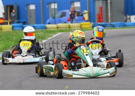 BUCHAREST, ROMANIA - MAY 16: Ada Arsene, number 17, competes in National Karting Championship, Round 1, on May 16, 2015 in Bucharest, Romania.