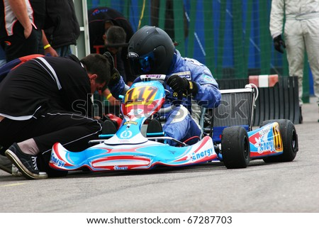 BUCHAREST, ROMANIA - MAY 15:  Banevski Nikifor competes in Europe Karting Championship, May 15, 2010, in Bucharest, Romania.