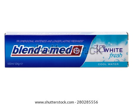 BUCHAREST, ROMANIA - MAY 22, 2015. Blend-A-Med toothpaste, 3D White Fresh, Cool Water made by Procter & Gamble. Blend-A-Med 3D White provides tri dimensional whiteness and longer lasting freshness.