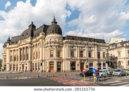 BUCHAREST, ROMANIA - MAY 24, 2015: Bucharest Central University Library was founded in 1895, completed in 1893 and opened on 14 March 1895. - stock photo