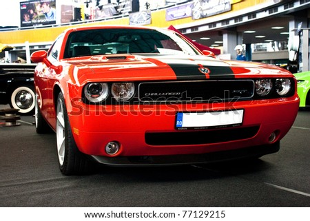 """BUCHAREST, ROMANIA - MAY 13: Car exhibition at Bucharest """"Romanian Tuning Show"""",Dodge Challenger. MAY 13, 2011, Bucharest, Romania. - stock photo"""
