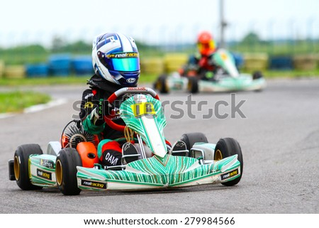 BUCHAREST, ROMANIA - MAY 16: David Serban, number 18, competes in National Karting Championship, Round 1, on May 16, 2015 in Bucharest, Romania.