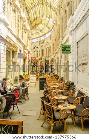 BUCHAREST, ROMANIA - MAY 09: Egyptian Cafe Valley Of Kings On May 09, 2013 In Bucharest, Romania. It is one of the most famous Arab cafe shops in the old center of Bucharest. - stock photo