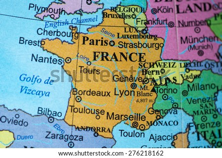 Bucharest, Romania - May 8, 2015: Illustrative editorial of France on a geographical globe.