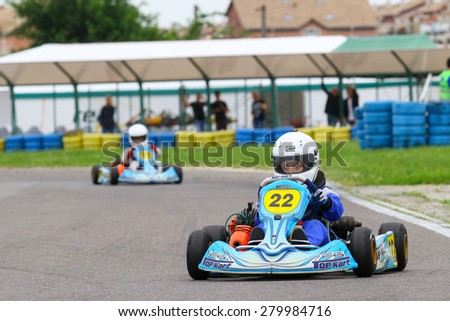 BUCHAREST, ROMANIA - MAY 16:Mihai Suteanu, number 22, competes in National Karting Championship, Round 1, on May 16, 2015 in Bucharest, Romania.