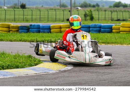 BUCHAREST, ROMANIA - MAY 16: Nicholas Pascu, number 17, competes in National Karting Championship, Round 1, on May 16, 2015 in Bucharest, Romania.
