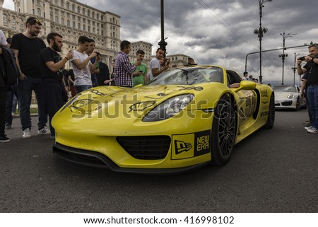 BUCHAREST, ROMANIA - MAY 7: Porsche 918 Spyder on parade on May 7, 2016 in Bucharest. The car is part of the Gumball 3000 Dublin to Bucharest Charity Grid Rally. - stock photo