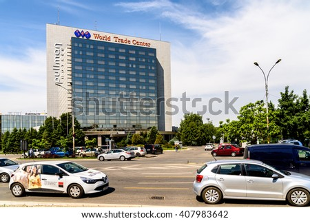 BUCHAREST, ROMANIA - MAY 13, 2015: Pullman Bucharest World Trade Center is a four star hotel in downtown Bucharest that also houses the headquarters of Michelin Romania. - stock photo