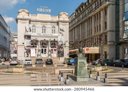 BUCHAREST, ROMANIA - MAY 20, 2015: The Odeon Theater is one of the best-known performing arts venues in Bucharest on Victory Avenue, and was built in 1911.