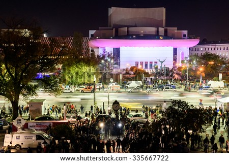 BUCHAREST, ROMANIA - NOVEMBER 04, 2015: People Gather In University Square And In Front Of National Theater On The Second Day Of Protest Against Corruption And Romanian Government.