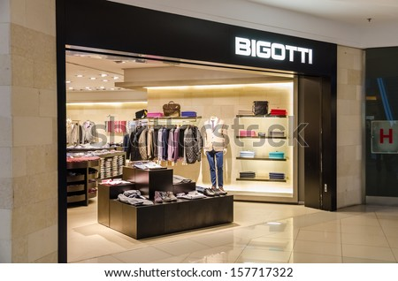 BUCHAREST, ROMANIA - OCTOBER 09: Bigotti Store on October 09, 2013 in Bucharest, Romania. Is a Romanian brand of men clothing manufacturer and is promoted as a luxury ready-made clothes for men. - stock photo