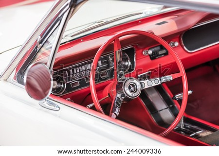 bucharest romania october 31 2014 1967 ford mustang car interior the