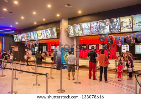 BUCHAREST, ROMANIA - OCTOBER 05: People Buying Tickets At The Movies at Afi Palace Mall On October 05, 2012 In Bucharest, Romania. - stock photo