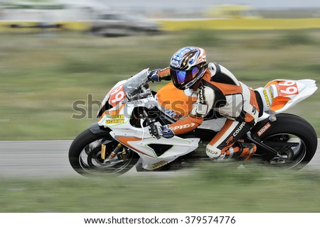 BUCHAREST, ROMANIA - SEPTEMBER 27: An unidentified rider participates in the Romanian Championship Motorcycle Speed on September 27, 2015 at Adancata in Bucharest, Romania