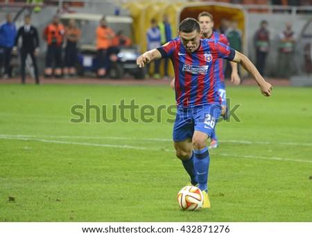 BUCHAREST, ROMANIA - SEPTEMBER 18, 2014: Claudiu Keseru pictured during the UEFA Europa League game between Steaua Bucuresti and Aalborg on National Arena. - stock photo