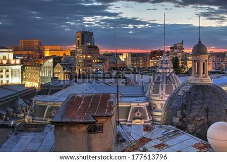 Bucharest's skyline, Romania - stock photo
