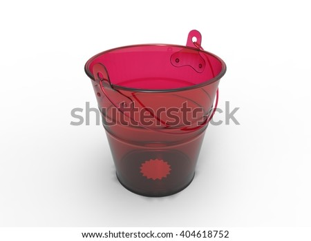 bucket 3D illustration on white background isolated object with shadow. simple tool for keeping water.