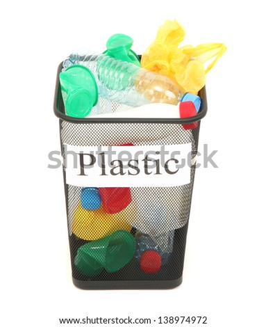Bucket for waste sorting  isolated on white - stock photo