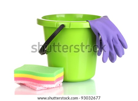 bucket, gloves and sponge for cleaning isolated on white - stock photo