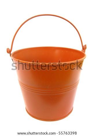 Bucket metal orange - stock photo