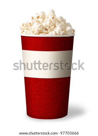 bucket of popcorn isolated on white background. red color.