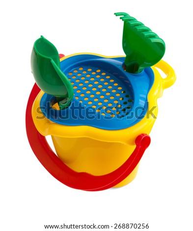 Bucket toy isolated on white - stock photo