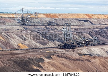 Bucket-wheel excavator in an open pit. landscape with extractive industry - stock photo