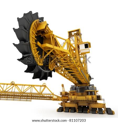 Bucket wheel excavator isolated on white - stock photo