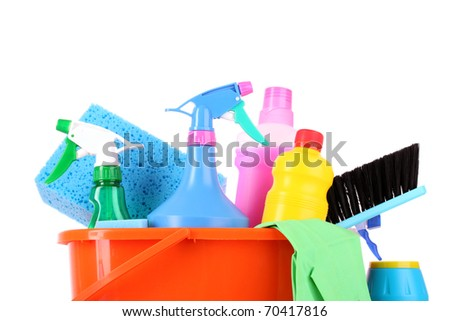 bucket with cleaning supplies isolated on white background - stock photo