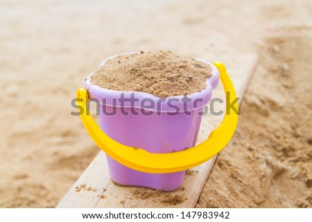 bucket with sand - stock photo