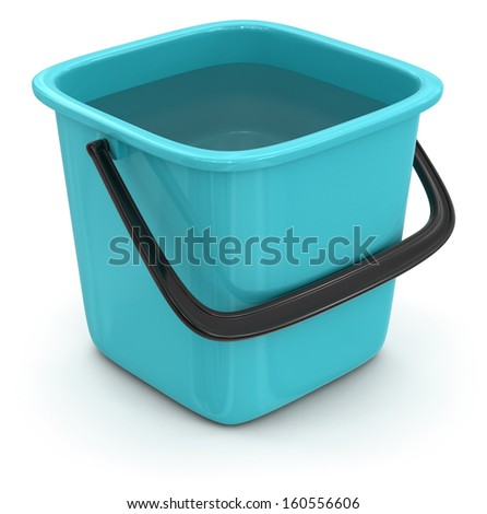 Bucket with water (clipping path included) - stock photo