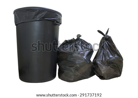 Buckets and garbage bags on a white background. - stock photo