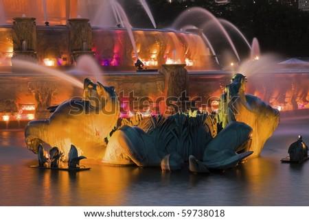 Buckingham Fountain detail - Chicago, Illinois, USA. - stock photo